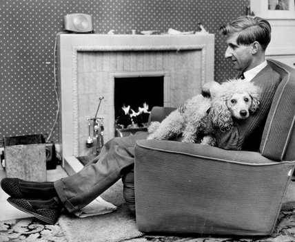 Ally McLeod, Scottish footballer, relaxing in a chair with his dog, 8 January 1962.