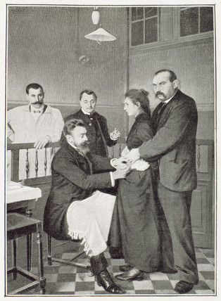 Inoculating a patient, Paris, c 1909.