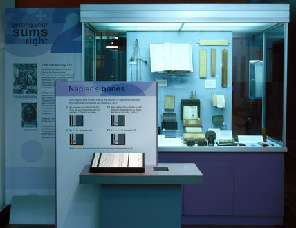 Napier's bones case from the 'Getting Your Sums Right' exhibition, April 2001.