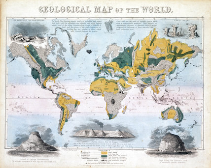 'Geological map of the world', 1850.