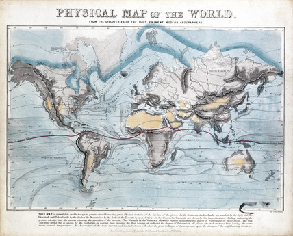 'Physical map of the World', 1849.