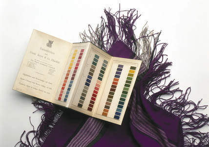 Sample book of dyes and mauve shawl, c 1862.