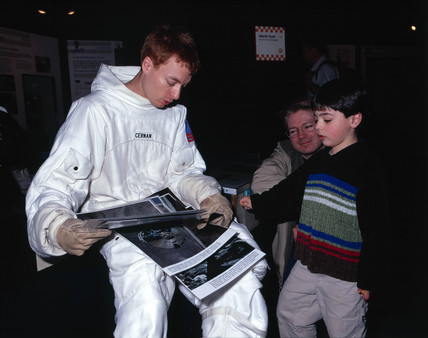 Actor dresed as an astronaut, Science Museum, London, 24 April 2001.