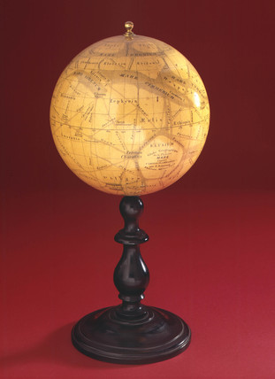 Globe of Mars on a wooden stand, 1880-1890.