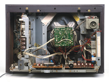 Wiring inside a TV receiver, c 1970s.