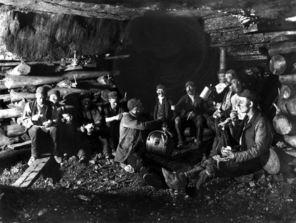 Mealtime in a mine shaft, Ramrod Hall Pit, Staffordshire, c 1890s.