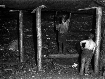 Testing the roof in a mine shaft, Ramrod Hall Pit, Staffordshire, c 1890s.