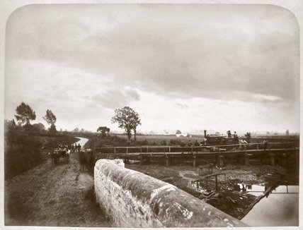 A temporary branch line leading to a ballast pit, Leicestershire, 1870s.