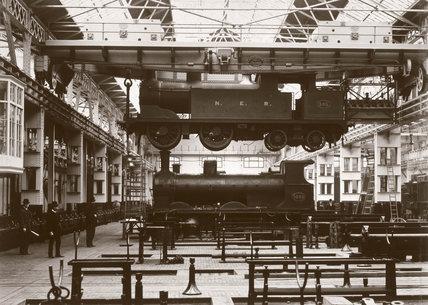Crane lifting a locomotive, Darlington Works, Durham, c 1902.