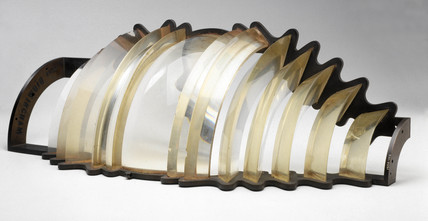 Section of 36 inch high fixed-lens (fourth order) lighthouse optic, 1890-1900.