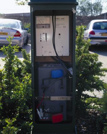 Wind powered street lamp battery, Buckinghamshire, May 2001.