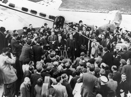 Prime Minister Neville Chamberlain, Heston aerodrome, 16 September 1938.
