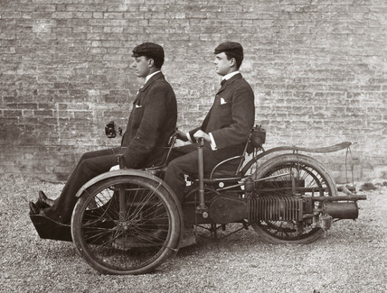 A L Paul (front) and C S Rolls in a 4 hp Bollee Tri-Car, 1895.