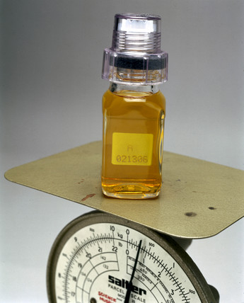 Weighing a urine sample, 2000.