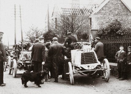 C S Rolls' Panhard on arrival at Bath, first day of the 1000 Mile Trial, 1900.