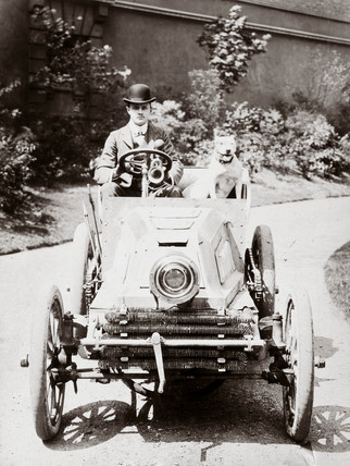 C S Rolls behind the wheel of his 24 hp Mors motor car, 1902.