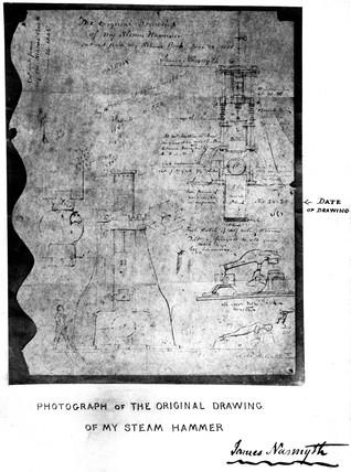 First drawing of Nasmyth's steam hammer, 24 November 1839.