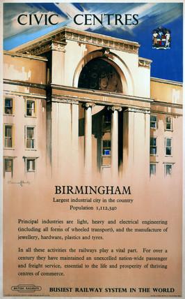 'Civic Centres - Birmingham', BR poster, 1948.