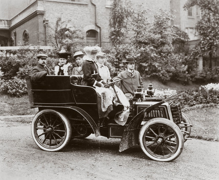 C S Rolls beside a 10 hp Panhard motor car, c 1900.