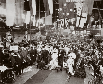Guests gathered at reception, Lillie Hall, Fulham, London, 1903.