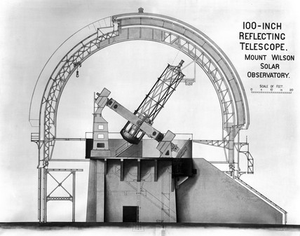 '100-inch Reflecting Telescope, Mount Wilson Solar Observatory', c 1917.