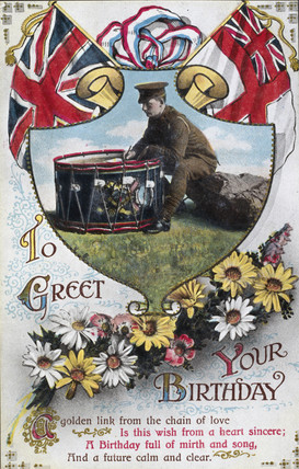 Birthday postcard sent from the front, 1914-1918.