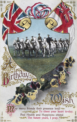 Birthday postcard sent to the front, 1914-1918.