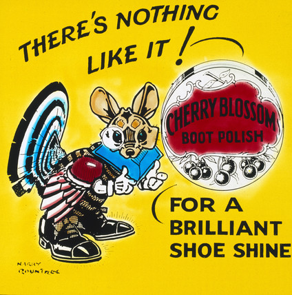 Advertisement for Cherry Blosom boot polish, c 1950.