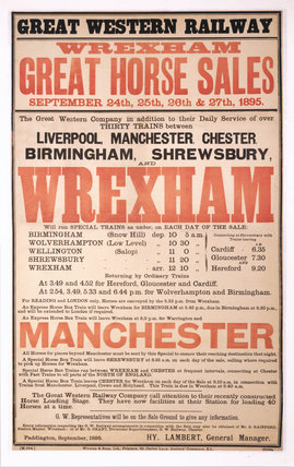 'Great Horse Sales, Wrexham', GWR poster, 1895.