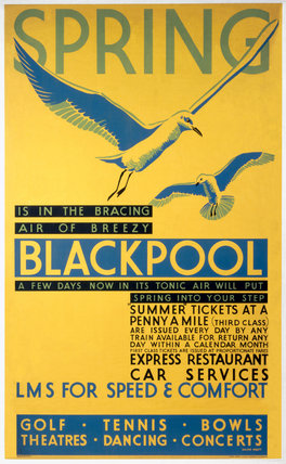 'Spring is in the bracing air of breezy Blackpool', LMS poster, c 1935.