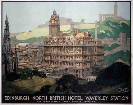 'Edinburgh, New British Hotel, Waverley Station, LNER poster, 1935.