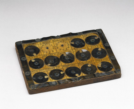 Laundry tally board, c 1680.