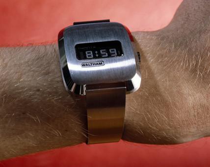 Waltham quartz wristwatch with LCD display, c 1976.