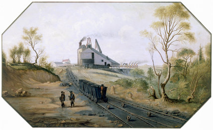 Colliery and wagonway, Northumberland and Durham coalfield, c 1845.