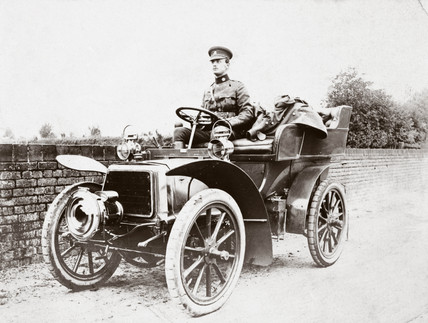 C S Rolls in army uniform behind the wheel of a 10 hp Panhard, 1903.