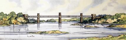 The Britannia Tubular Bridge, Wales, BR (LMR) carriage print, early 1950s.