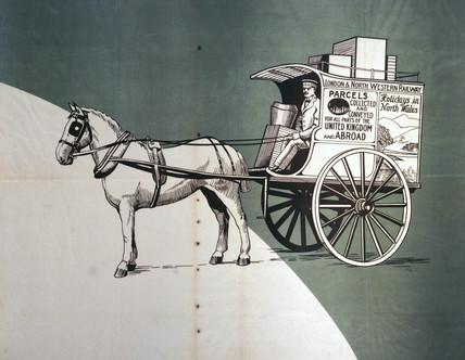 Horse-drawn London & North Western Railway delivery van, c 1920.