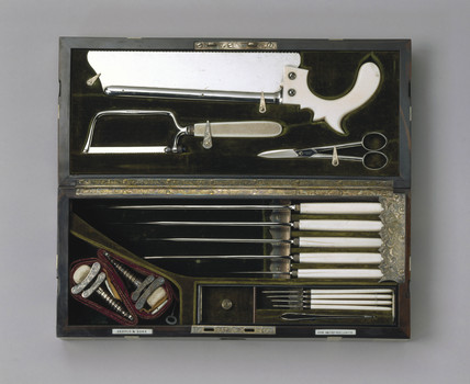 Steel and ivory amputation set, 1866-1871.