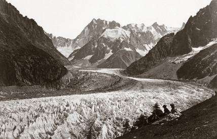 Walkers resting beside a glacier, French Alps, c 1870s.