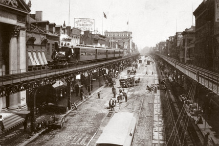 Elevated railway, Bowery, New York, USA, c 1901.