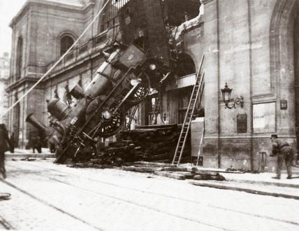 Derailed locomotive, Montparnase Station, Paris, France, 1895.