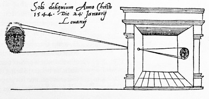 Frisius Gemma's illustration of a camera obscura, 1544.