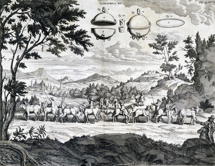 Experiment with Magdeburg hemispheres, 1654.