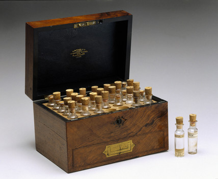 Walnut homeopathic medicine chest, late 19th century.