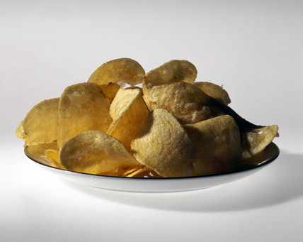 Plate of potato crisps, 1998.