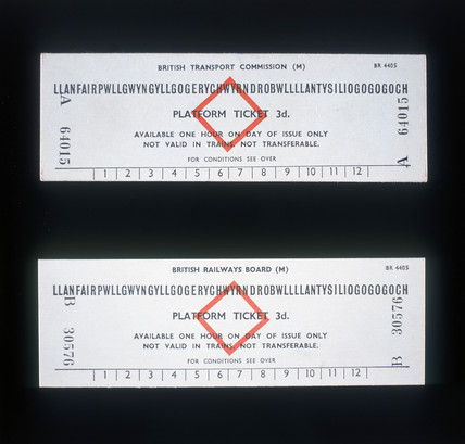Platform tickets for the station with the longest name in Britain, 1948-1964.