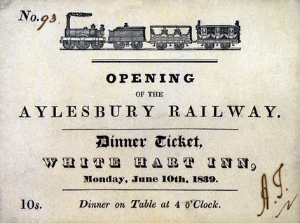 Ticket for a dinner at the White Hart Inn, Aylesbury, Buckinghamshire, 1839.