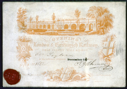 Ticket for the opening of the London & Greenwich Railway, 1836.