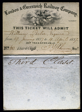 London & Greenwich Railway Company Season Ticket, 1837.