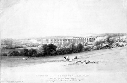 'View of the Ouse Viaduct', London & Brighton Railway, c 1841.
